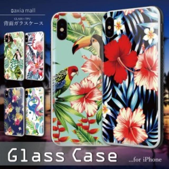 643a63897e ガラスケース iPhone XS iPhone8 ケース 背面ガラス TPU スマホケース おしゃれ 海外 アロハ ハワイアン プルメリア ALOHA