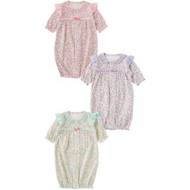 37c98ff81c5da ベビーウェア - chuckleBABY スウィートガール小花柄シフォンフリル新生児ツーウェイオール新生児 服 ベビー服