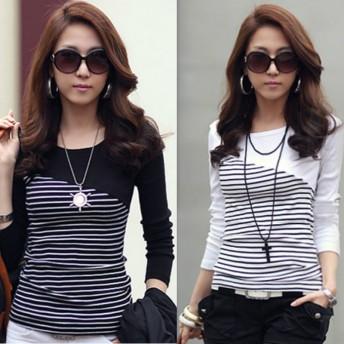 Tシャツ - PROVENCE DREAM 長袖 カットソー レディース ファッション トップス 服 長袖 伸縮性 カラー ブラック ホワイト サイズ M L 299