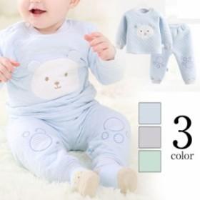 送料無料新生児 肌着セット オーガニックコットン 熊飾り 厚地 インナー 上下セット セットアップ 2点セット 長袖 プルオーバ