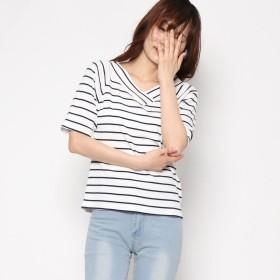 スタイルブロック STYLEBLOCK 染めボーダーリブ2ウェイVネックTシャツ (ネイビー)