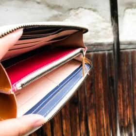 【送料無料】色を楽しむ使えるお財布!「ラウンドジップ 長財布」スマホもOK!受注生産(RZW-PNWW-RCY-W)II