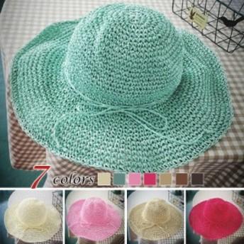 ストローハット 小顔効果 つば広 麦わら帽子 日よけ 帽子 UVカット 折りたたみ帽子 ハット 帽子 紫外線対策 旅行 レディース