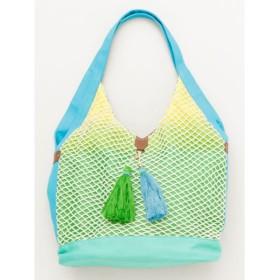【チャイハネ】カラフルネットバッグ ターコイズブルー