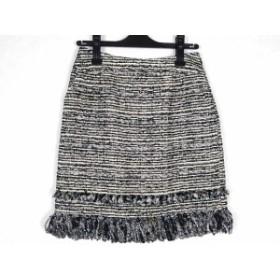 トゥービーシック TO BE CHIC スカート サイズ38 M レディース 美品 アイボリー×黒 ツイード【中古】