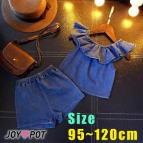 キッズ ベビー服 2点セット 海外 子供服 夏 デニム セットアップ 子ども服 95cm 100cm 105cm 115cm 120cm 女の子
