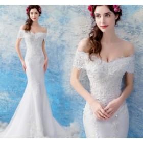 結婚式ワンピース ウェディングドレス 花嫁 ドレス エンパイア 編み上げタイプ ビスチェタイプ 姫系ドレス ロング丈ワンピ-ス