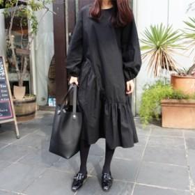 裾フリルが可愛い♪ ブラックカラーがシックですね♪ 長袖 コットンワンピース 1260