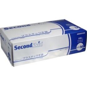【介護・調理・伝染病用手袋】セコンドスキン プラスチック手袋 Mサイズ 100枚入