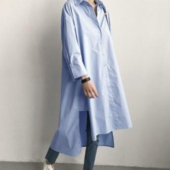 ロングシャツ ワンピース ホワイト ブルー 普段着 女子会 カジュアルママ 韓国スタイル トレンド