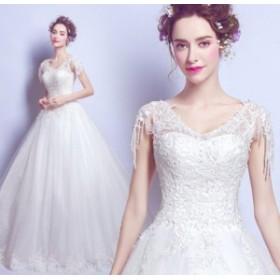 ウェディングドレス 結婚式ワンピース お嫁さん 花嫁 ドレス エレガントスタイル Vネック ビスチェタイプ 姫系ドレス 白ドレス