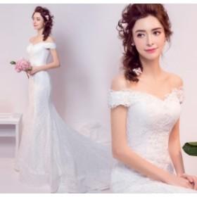 結婚式ワンピース お嫁さん 豪華な ウェディングドレス マキシドレス 花嫁 ドレス きれいめ 編み上げタイプ 白ドレス