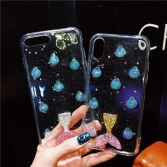 iphone6s Plus/iPhone6 Plus/iPhone7 Plus/iPhone7/iPhone8 Plus/iPhone8/iPhoneXケース人魚柄透明キラキラケース【hn19】