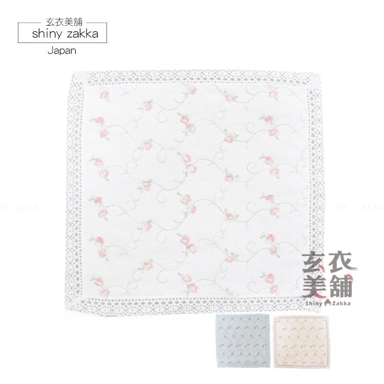 日本毛巾-蝴蝶結x玫瑰刺繡小方巾-黃-玄衣美舖