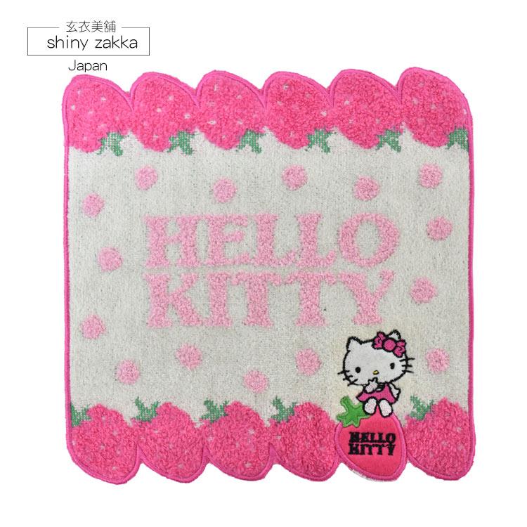 日本毛巾-Sanrio三麗鷗小方巾-Kitty草莓-玄衣美舖