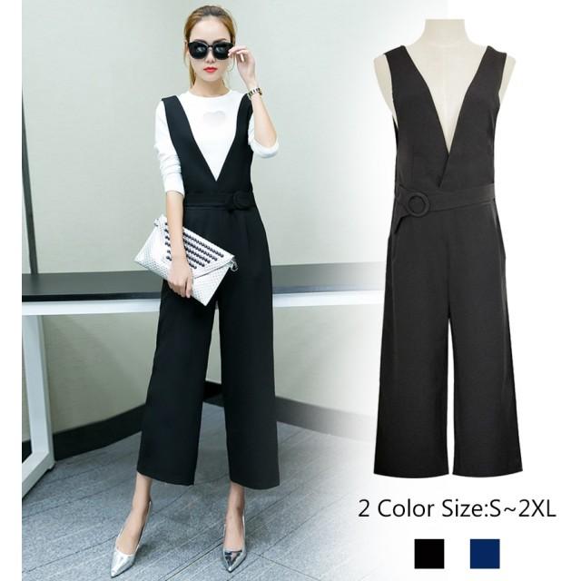 オールインワン サロペット パンツ ロングパンツ レディースファッション フェミニン 可愛い 普段着 着回し抜群 オールインワン パンツ ブラック ブルー S M L XL 2XL