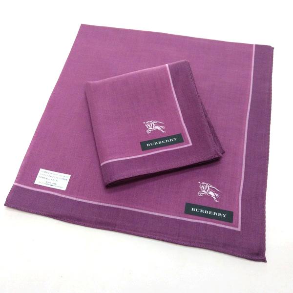 BURBERRY 手帕/領巾 日本進口/100%純棉全新現貨附信封袋(紫色戰馬)