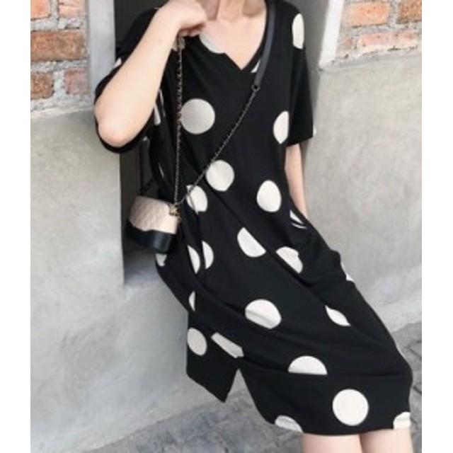 レディースファッション 秋新作 水玉模様がアクセントな大人可愛いシフォンワンピース 膝下丈 ゆったり 大きいサイズ