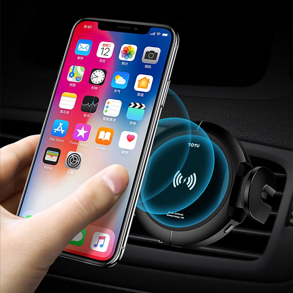 TOTU   星爵   無線充電手機車載支架,紅外線自動感應,汽車出風口導航支架手機車載無線充-黑