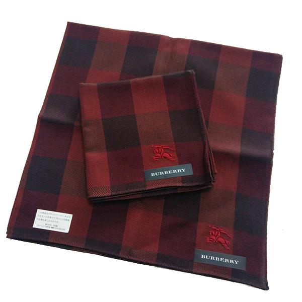 BURBERRY 手帕/領巾 日本進口/100%純棉全新現貨附信封袋(暗紅戰馬)