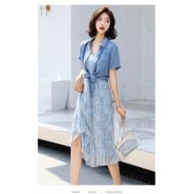 ドレス 2点セット 半袖シャツ シフォン ほんのり透け感
