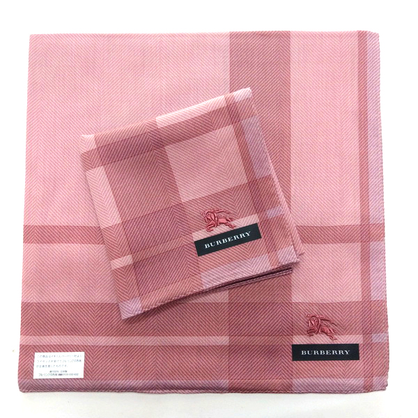 BURBERRY 手帕/領巾 日本進口/100%純棉全新現貨附信封袋(粉色格紋)
