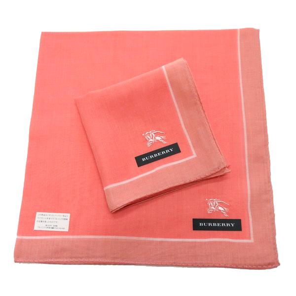 BURBERRY 手帕/領巾 日本進口/100%純棉全新現貨附信封袋(粉橘戰馬)