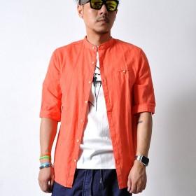 シャツ - RAiseNsE スタンドカラー 5分袖オレンジシャツ トップス メンズ バンドカラー ハーフスリーブ 朱色 柔らか素材#TS344