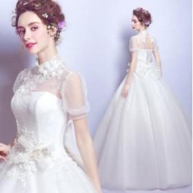 ブライダルドレス 素敵 立ち襟 リボン付き フェミニン ウェデイングドレス 袖あり 編み上げ 花柄 着痩せ ホワイト 結婚式 花嫁