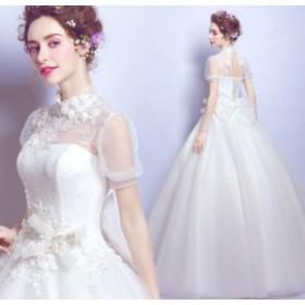 結婚式ワンピース お嫁さん 豪華な ウェディングドレス 蝶結び付き 花嫁 ドレス 体型カバー aライン 姫系ドレス ホワイト色