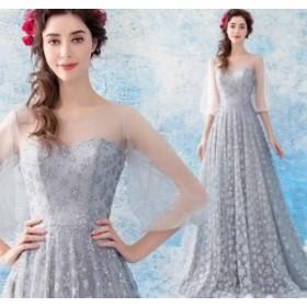 ウェディングドレス お呼ばれ 結婚式ワンピース ブライズメイド きれいめ パーティードレス チュールスカート グレー色