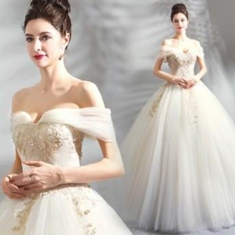 結婚式ドレス ブライダルドレス ホワイト ボートネック 豪華 刺繍 ウェデイングドレス ロング丈 フェミニン 着痩せ