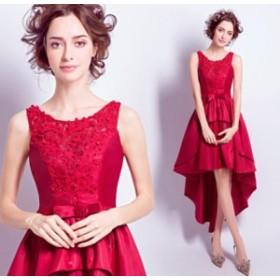 ナイトドレス ワンピース 上品 クオリティー ノースリーブ 丸襟 お呼ばれドレス 結婚式・二次会に最高 不規則ワンピース レッド色