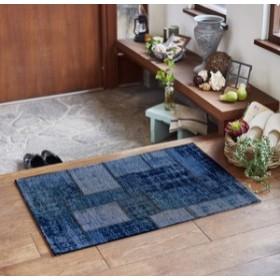 玄関マット ヴィンテージテイスト ベルギー製 「パグルン」 ブルー 約50X80cm(240585935) (送料無料)(玄関マ