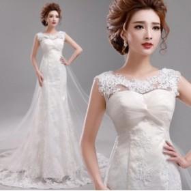 マーメイドドレス ウェデイングドレス レース エレガント 結婚式ドレス 花嫁 ブライダルドレス トレーンドレス 素敵