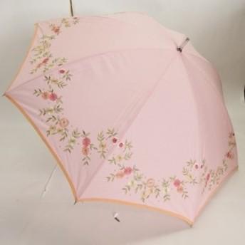 (晴雨兼用)スライドショート/無地刺繍パーピング(28-6180)ピンク/ベージュ(送料無料)(アンブレラ、日傘、雨傘、長傘、UVケア、紫