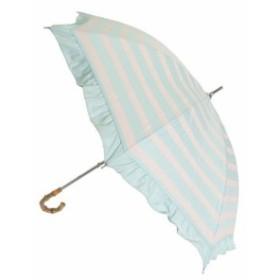 (晴雨兼用)中棒スライドショート傘/ポリエステル 耳フリル ボーダー柄プリント傘(28-6136) (送料無料) (アンブレラ、雨傘、日傘