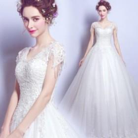 ホワイトドレス 結婚式ドレス 花嫁 ブライダル ウェデイングドレス 高級 レース Vネック ドレス エレガント ロング丈 編み上げ