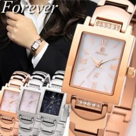 フォーエバー レディース腕時計 10年電池 天然ダイヤモンド スワロフスキークリスタル シェル文字盤 10気圧防水 ウォッチ 女性用 かわい