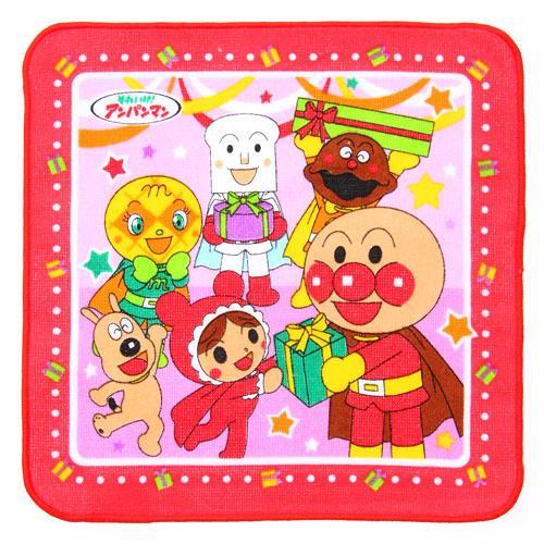 日本毛巾-日本麵包超人小方巾-派對/紅色-玄衣美舖