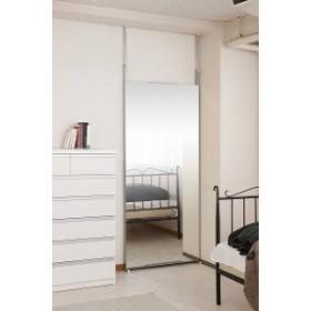 突っ張り壁面ミラー ワイド 幅80cm シルバー色(送料無料)(全身鏡、スタンドミラー)