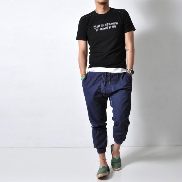Tシャツ - RAiseNsE フェイクレイヤード ロゴ刺繍Tシャツ 半袖 トップス メンズ カットソー ストレッチ 伸縮 ドライ 速乾[2色]#TA128