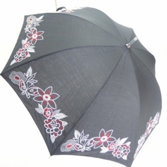 (晴雨兼用)スライドショート/T/C無地刺繍(28-6237)クロ/ベージュ/ピンク(送料無料)(アンブレラ、日傘、雨傘、長傘、UVケア、紫外