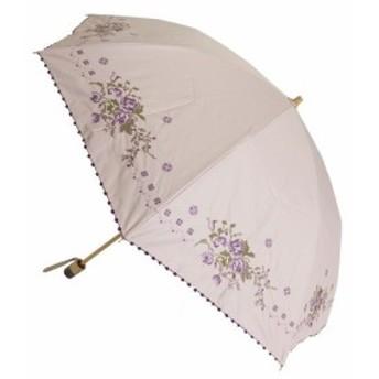 (晴雨兼用99.99%遮光効果・遮熱効果)折たたみ傘/ポンシー1級遮光生地 花柄クロス刺繍傘(27-6453) (送料無料) (アンブレラ、雨傘