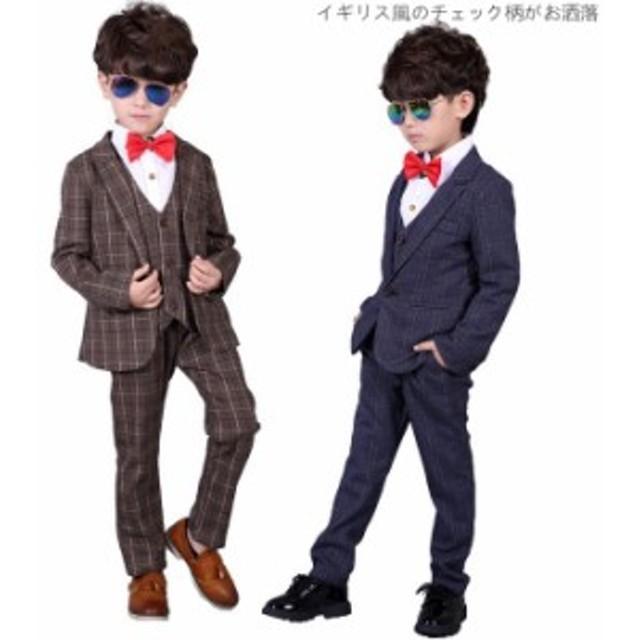 56d948ec992c4 送料無料 イギリス風 スーツ 子供 男の子スーツ キッズスーツ タキシード フォーマル 七五三 3点セット