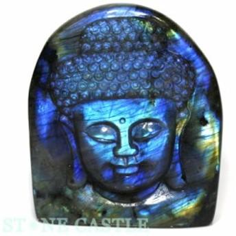 ☆置物一点物☆【天然石 彫刻置物】大仏頭像 ラブラドライト No.01
