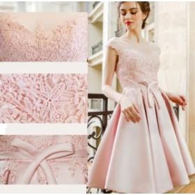 レースドレス ピンク sweet Aライン 着痩せ パーティードレス 膝丈 エレガント お嬢さん 結婚式 お呼ばれ 二次会 披露宴 リボン