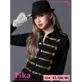 Tika ティカ 3点set ナポレオンダンサーコスチュームセット (ワンピース+帽子+手袋(片手) ハロウィン