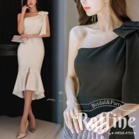 パーティードレス 韓国 ワンピース 二次会 結婚式 お呼ばれ ドレス  マーメイド タイト ワンストラップ