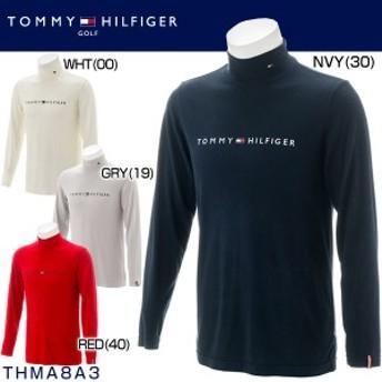トミー ヒルフィガー ゴルフ メンズウエア ブラッシュド ストレッチ ロゴ ハイネック 長袖シャツ THMA8A3 2018年秋冬モデル M-LL